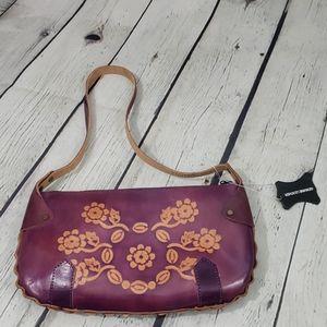 Purple Tooled Leather Boho Floral Shoulder Purse